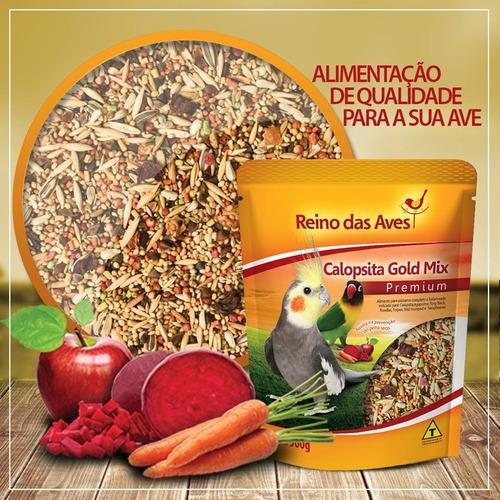 kit 5 ração calopsita gold mix 500gr - reino das aves