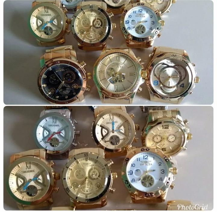 c840951b492 Kit 5 Relógio Masculino Dourado Luxo Para Revender Atacado - R  120 ...