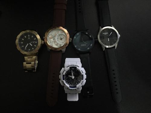 4ce9cb9e072 Kit 5 Relógios Boas Marcas Sem Bateria - R  299