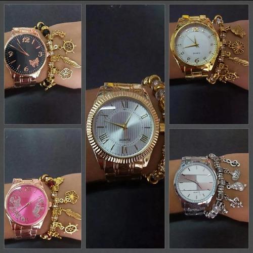 kit 5 relógios feminino c/pulseira+caixa atacado/revenda