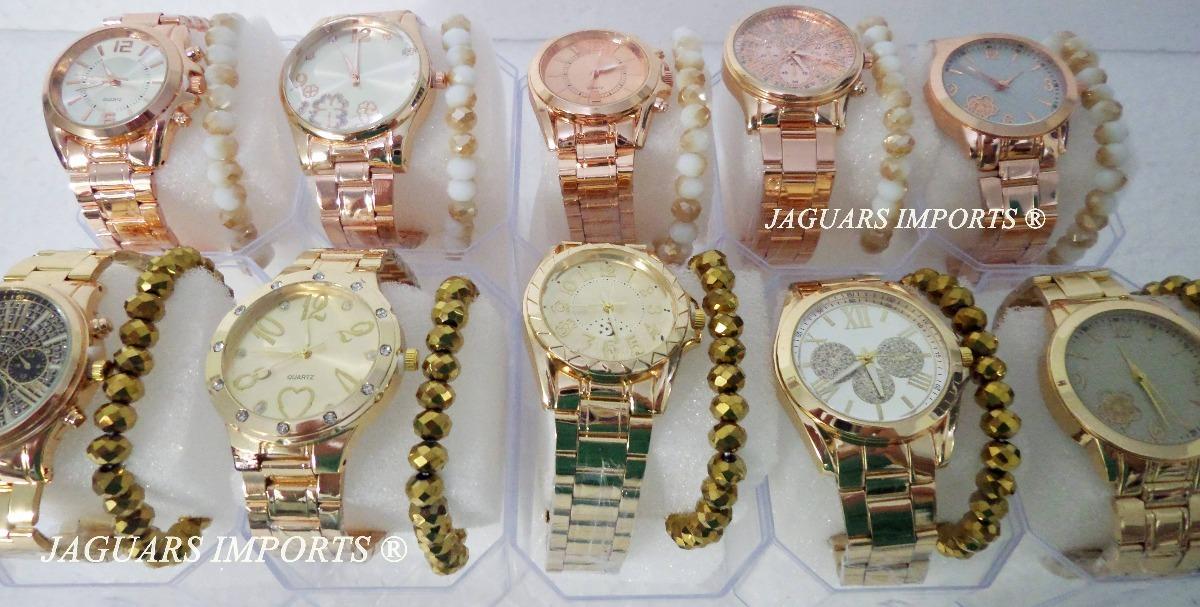 3b62cf88c66 Kit 5 Relógios Femininos C pulseira + Caixa Barato Revenda - R  96 ...
