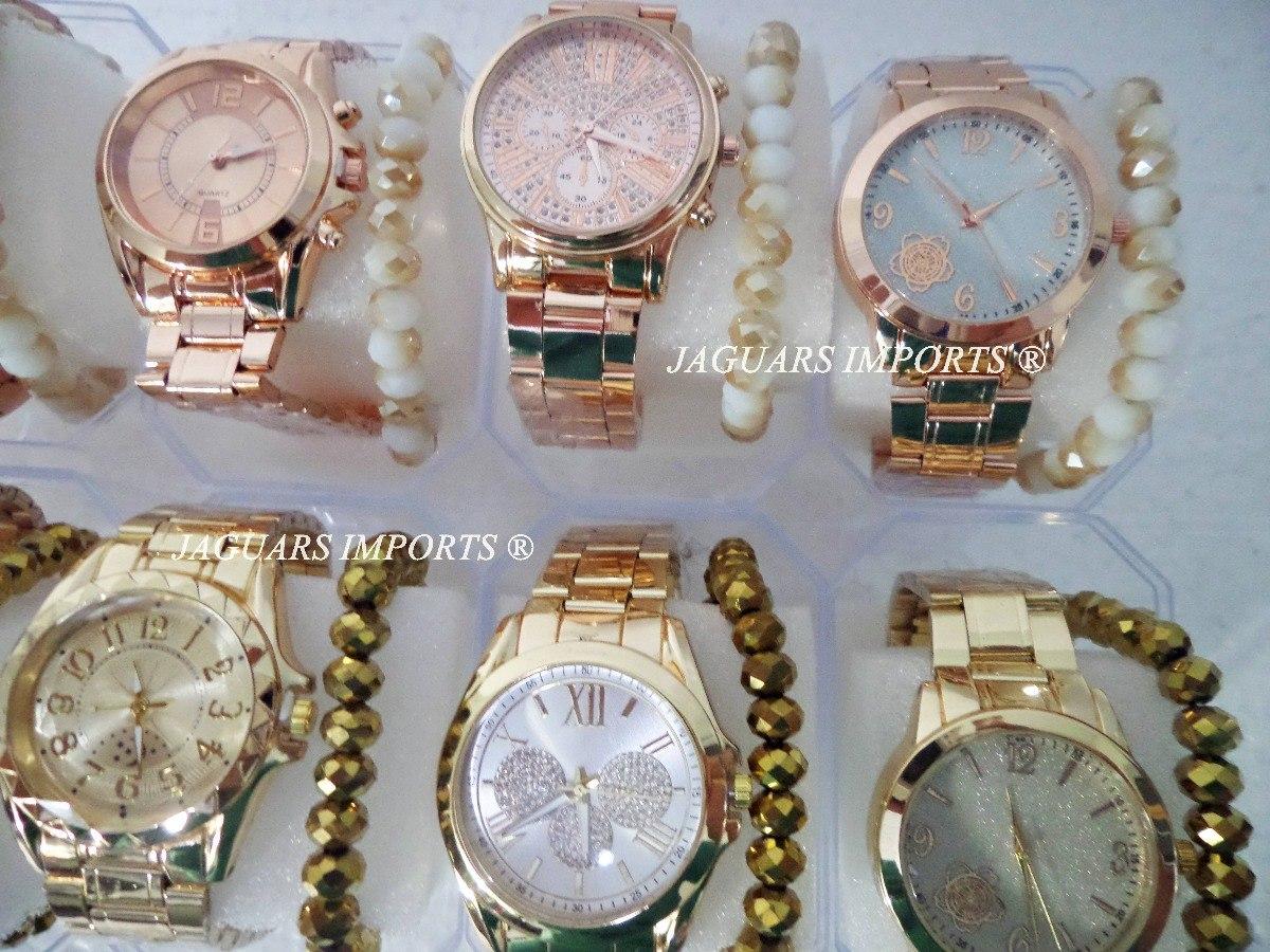 c660884faf3 kit 5 relógios femininos c pulseira + caixa barato revenda. Carregando zoom...  3