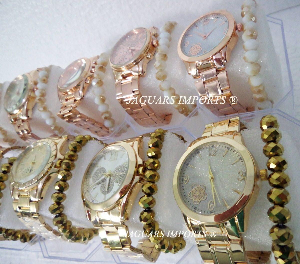 f54395891be 3 kit 5 relógios femininos c pulseira + caixa barato revenda. Carregando  zoom.
