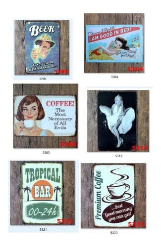 kit 5 rótulos vintage cuadros decorativos 30x20cm ganga lp