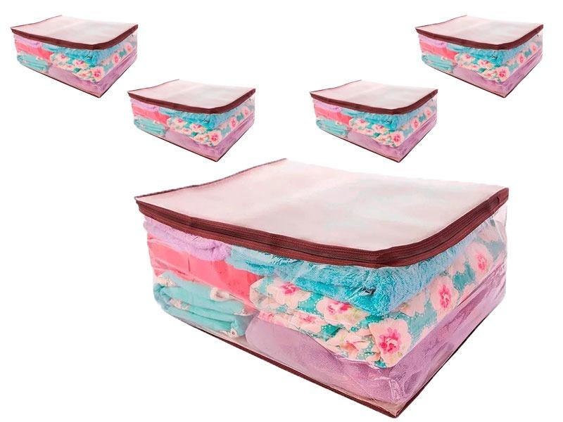 d6f218881 Kit 5 Saco Organizador Closet Edredon Cobertor 65x27x50 - R  98