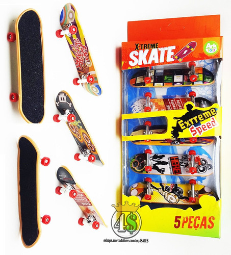 kit 5 skate de dedo fingerboard sk8 plástico - com lixa