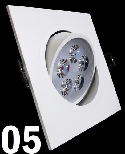 kit 5 spot led branco luz fria 5w quadrada teto sanca gesso