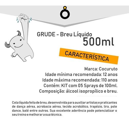 kit 5 sprays breu liquido - cola tecido acrobático, pole...