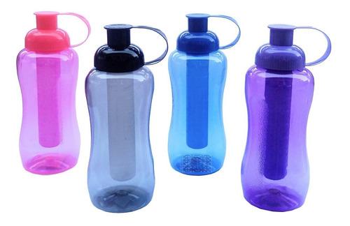 kit 5 squeeze garrafinha água com porta gelo 600ml plastico