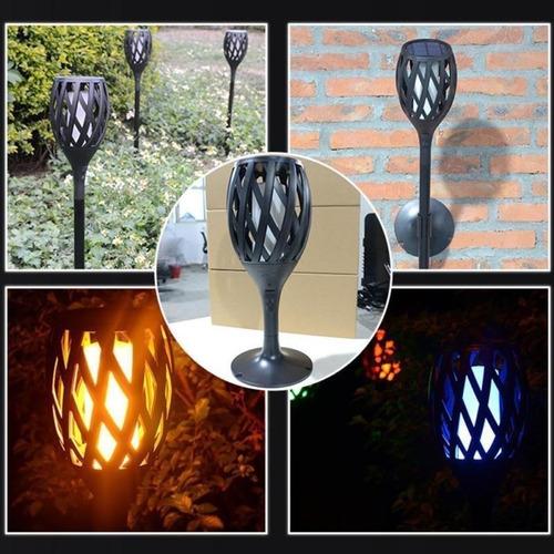 kit 5 tocha arandela solar lâmpada led efeito chama fogo