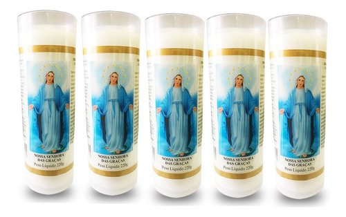 kit 5 velas votiva 7 dias nossa senhora das graças pvc