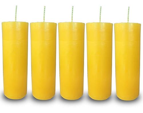 kit 5 velas votivas 7 sete dias colorida amarela
