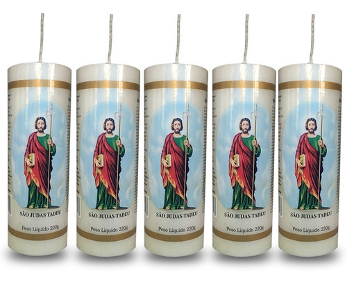 kit 5 velas votivas 7 sete dias são judas tadeu nv