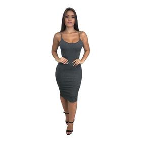 Kit 5 Vestido Tubinho Midi Gola Manga Alça Ribana Atacado