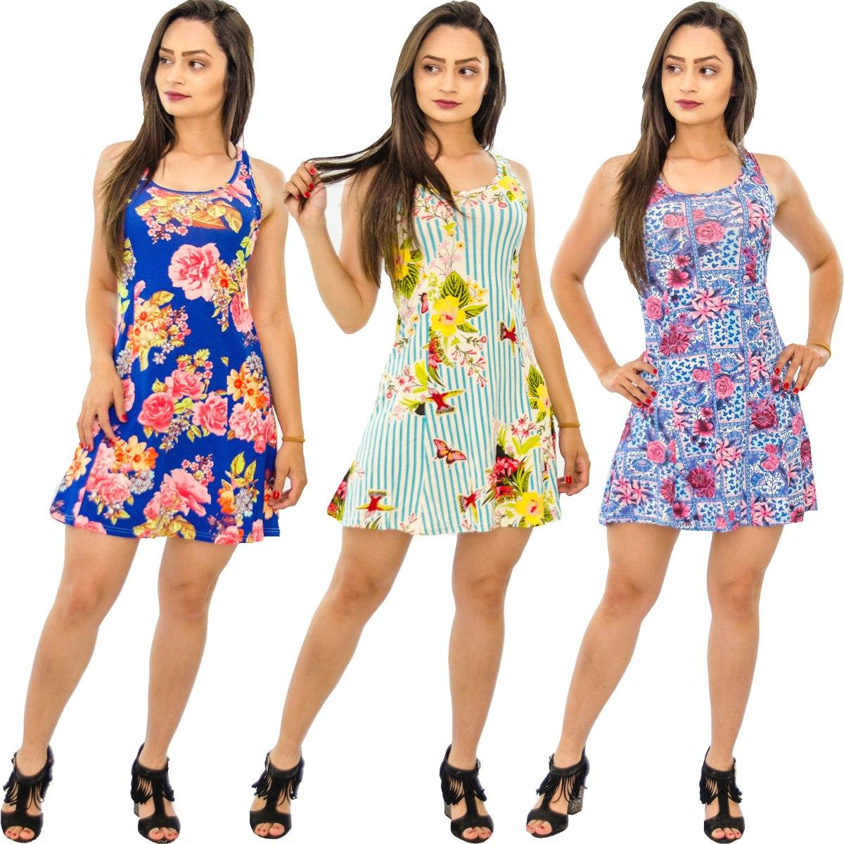 0853e3e4dd kit 5 vestidos alcinha feminino ciganinha festa estampado. Carregando zoom.