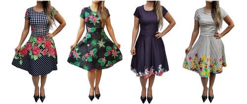 kit 5 vestidos feminino boneca midi evangélico evasê suplex