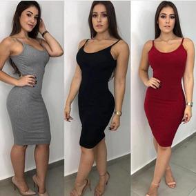 67498bf8a Vestido Mid Canelado Com Bojo - Calçados, Roupas e Bolsas no Mercado Livre  Brasil