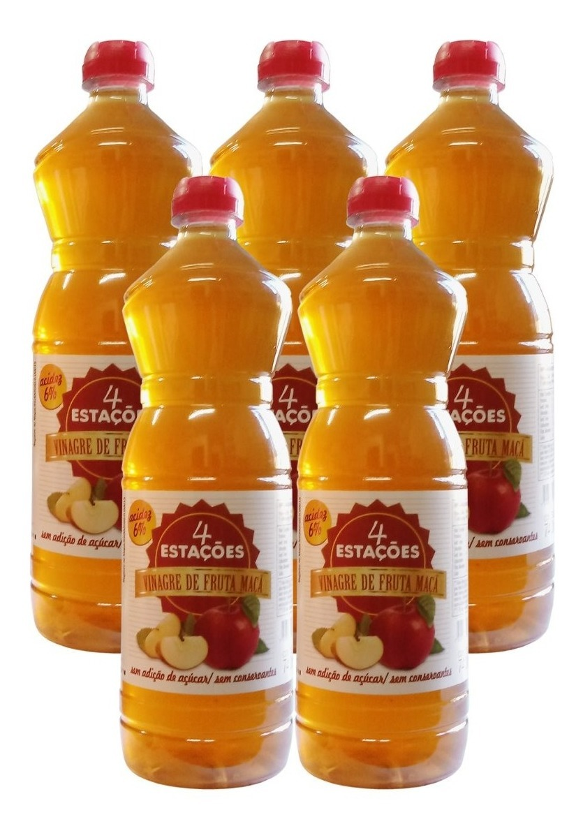 Vinagre De Maçã 6% 740ml Zero Açúcar 100% Natural Kit 5 Unidades