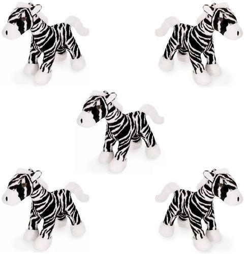 kit 5 zebra de pelúcia listrada 37cm anti alérgica zoológico
