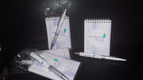 kit 50 blocos e canetas