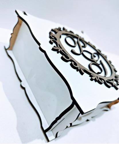 kit 50 caixas casamento lembrancinha brasão mdf - 12x12x5