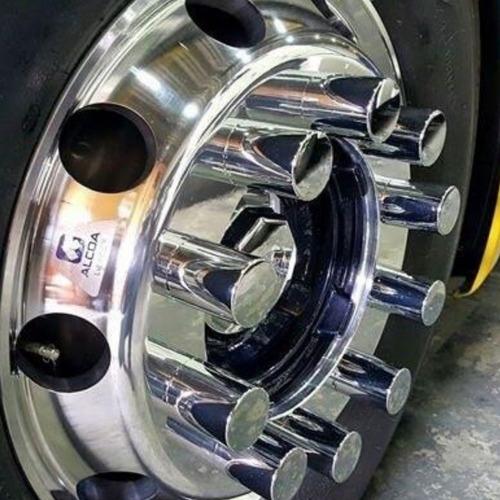 kit 50 capa de porca boliviana cromada roda caminhão 32/33mm