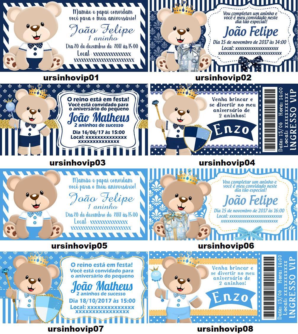 Kit 50 Convites Aniversário Urso Príncipe Ursinho Realeza R 3200