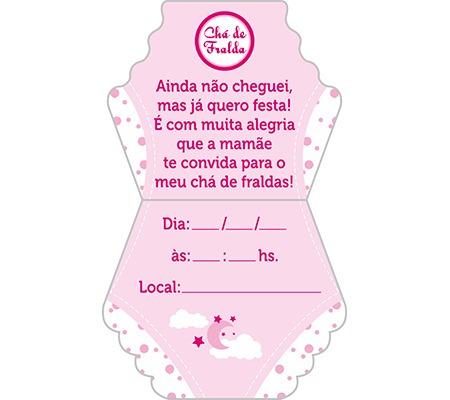 Kit 50 Convites Chá De Fralda Menina Formato Fralda R 2250 Em