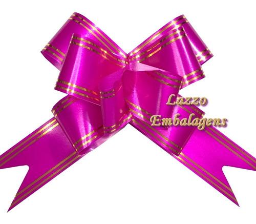 kit 50 lacinhos para presente e cestas grande 32mm pink luxo