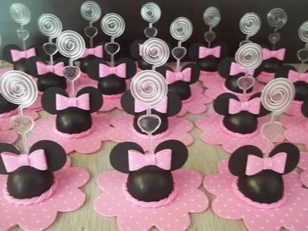 kit 50 lembrancinhas minnie rosa de isopor e eva