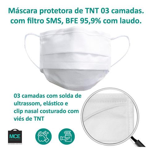kit 50 máscara descartável tripla tnt filtro sms +clip nariz