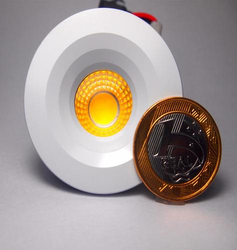 kit 50 mini spot super led de embutir 3w branco morno 3000k