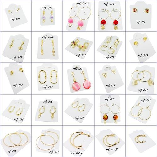 kit 50 pares de brincos tam. m e g folheados a prata ou a ouro ou kit misto você escolhe - preço atacado - alto lucro
