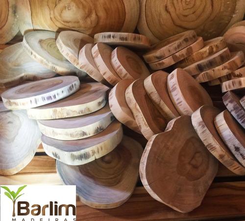 kit 50 pçs - bolacha de madeira teca - 10 cm de diâmetro x 2