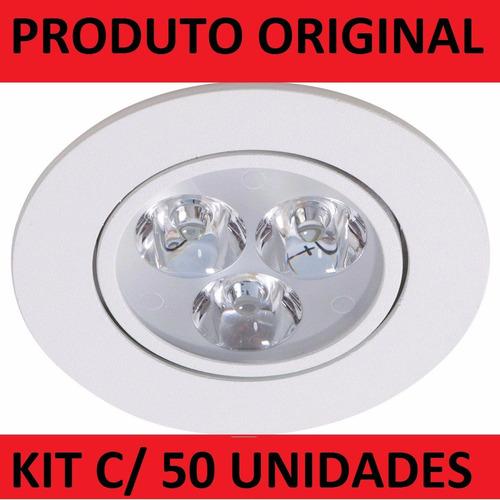 kit 50 pçs spot super led 3w embutir mbr gesso forro