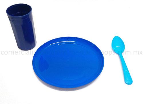 kit 50 plato 50 vaso 50 cucharas colores combinados plastico