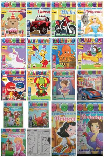 kit 50 revistas de colorir + 50 caixas de giz de cera .
