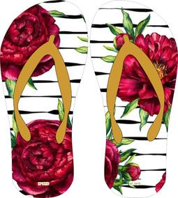 fa4c3a97c3 Chinelos Personalizados Floral no Mercado Livre Brasil