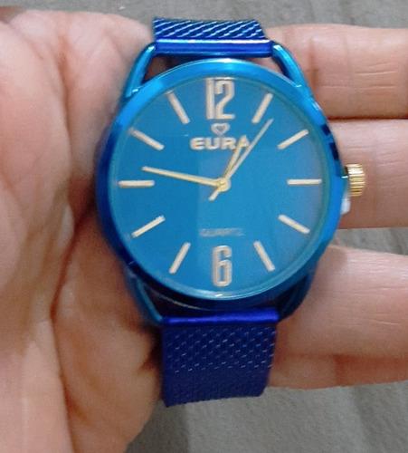 kit 5.relógio  feminino em promoção eura pulseira colorida