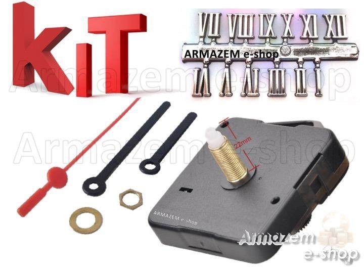 Kit 5un Maquina Relógio 22mm Ponteiros E Numeros Romanos R 33