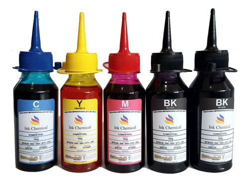 kit 5x 100ml tinta comestível jato de tinta para papel arroz