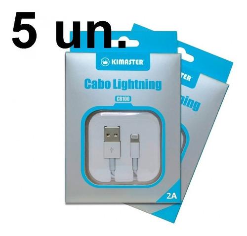 kit 5x cabo usb carregador iphone 5 6 7 8 plus x lightning