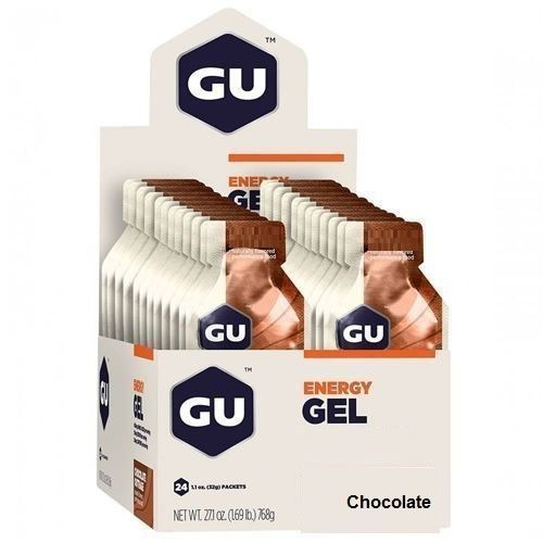 kit 5x energy gel - 24 sachês 32g chocolate - gu