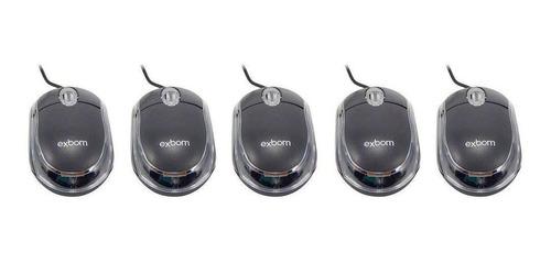 kit 5x mouse usb 1000 dpi preto mini led scroll ms-10 exbom