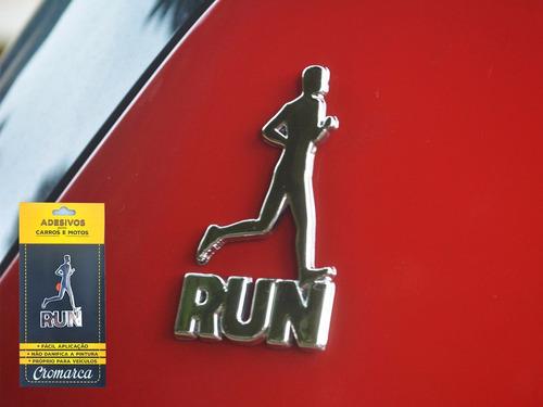 kit 6 adesivos alto relevo 3d 3m auto corredor run cromado