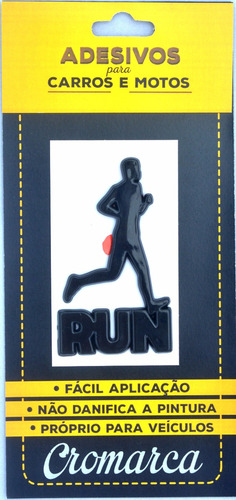 kit 6 adesivos alto relevo 3d 3m auto corredor run preto