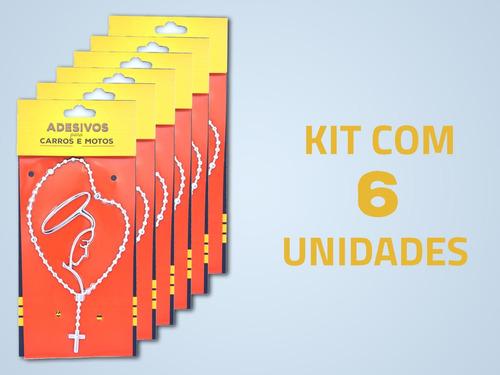 kit 6 adesivos grandes cromados cromarca terço-nossa senhora