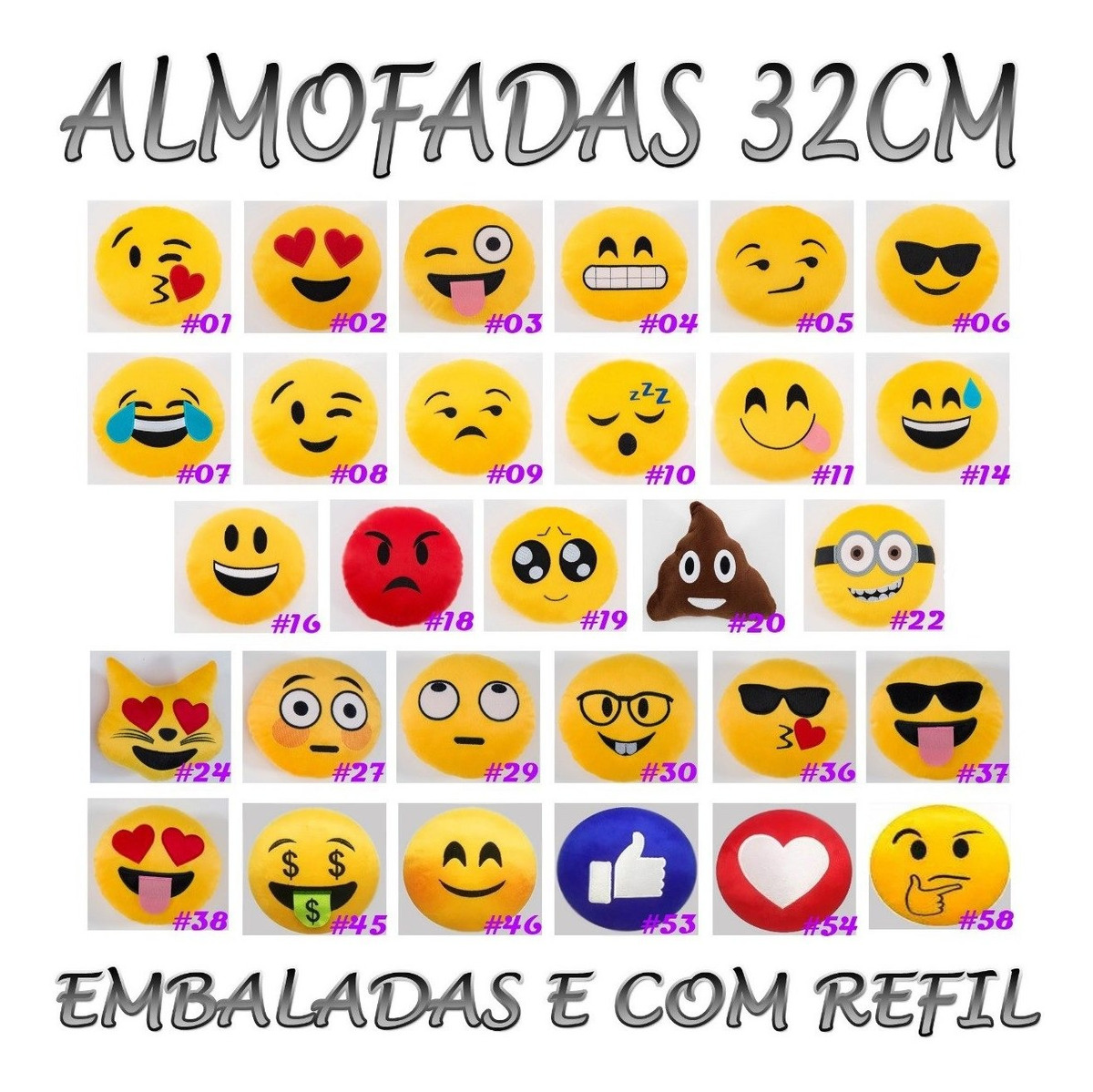 8138ed682a72f4 Kit 6 Almofadas Emoticon Zapzap Watts App Emoji 32cm Bordado