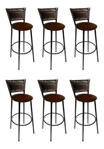 kit 6 banquetas bar bistrô hawaii junco cafe assento marrom