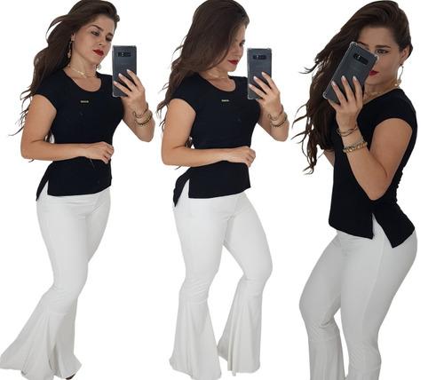 a546cf8e0 Kit 6 Blusa Camisetas Femininas Promoção Cropped Long Line - R  129 ...